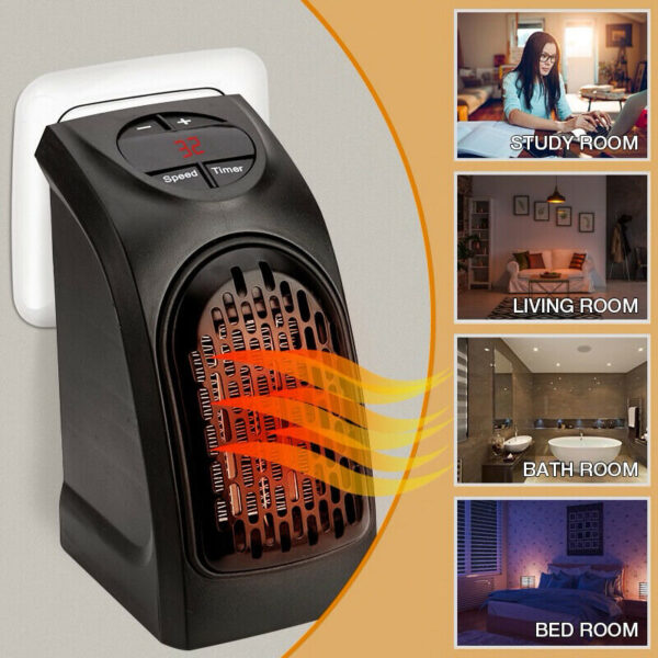 Portable Mini Electric Plug-In Wall Heater Handy Room Blower Fan Radiator 350w